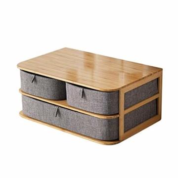 su-luoyu Stoff Schubladenbox Aufbewahrungsbox Mit Schubladen, Bambus, Wasserfestem Oxford Stoff, Multi-Layer Schubladen Aufbewahrungsbox Mit Praktische Griff, Fest Und Stabil - 1