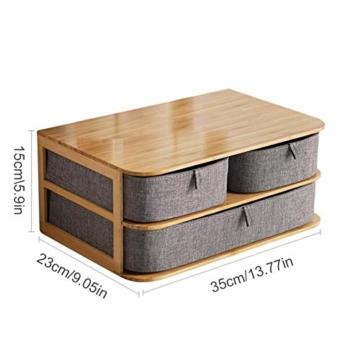 su-luoyu Stoff Schubladenbox Aufbewahrungsbox Mit Schubladen, Bambus, Wasserfestem Oxford Stoff, Multi-Layer Schubladen Aufbewahrungsbox Mit Praktische Griff, Fest Und Stabil - 5