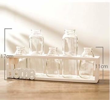 SUNRUNERS Glas-Pflanzgefäße für den Innenbereich mit Flaschenbeleuchtung, Hydrokultur, Pflanzen-Holzständer für Zuhause, Büro, Dekoration, Rohholz, 5 Terrarium - 3