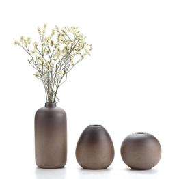 T4U Keramik Blumenvasen Klein für Einzelblüten, Japanischer Stil Dekovasen 3er-Set - 1