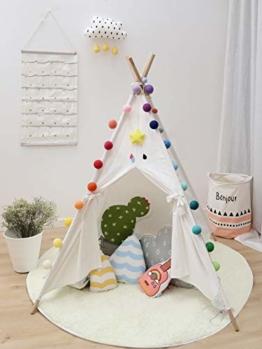 Tamia-Home Zelt Tipi Kinderzelt Spielzelt + Fähnchen für Innen mit Baumwollsegeltuch und Holzstangen (Weiss) - 1