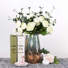 Teresa's Collections Grüne Golde Keramik Vase Kleine Blumenvase Moderne Farbe Tischvase Blumen Pflanzen Tischdeko Keramikvase Deko Garten Dekoration Höhe 23cmØ 10cm(Grün & Gold) - 1