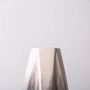 Teresa's Collections Keramik Blumenvasen, 2er Set grau geometrische dekorative Vase für Wohnzimmer, Küche, Tisch, Zuhause, Büro, Hochzeit, Herzstück oder als Geschenk MEHRWEG VERPACKUNG, 28 / 22cm - 5