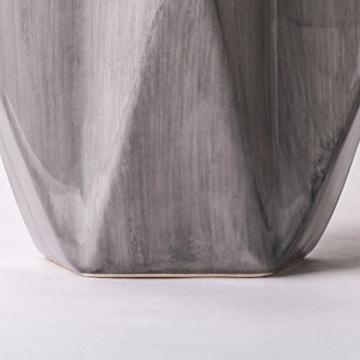 Teresa's Collections Keramik Blumenvasen, 2er Set grau geometrische dekorative Vase für Wohnzimmer, Küche, Tisch, Zuhause, Büro, Hochzeit, Herzstück oder als Geschenk MEHRWEG VERPACKUNG, 28 / 22cm - 6