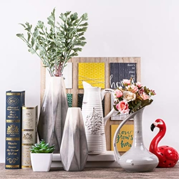 Teresa's Collections Keramik Blumenvasen, 2er Set grau geometrische dekorative Vase für Wohnzimmer, Küche, Tisch, Zuhause, Büro, Hochzeit, Herzstück oder als Geschenk MEHRWEG VERPACKUNG, 28 / 22cm - 7