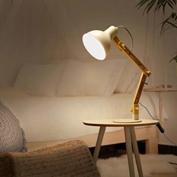 tomons LED Leselampe im klassichen Holz-Design, Schreibtischlampe, Tischleuchte Verstellbare, Lampe mit verstellbarem Arm, Augenfreundliche Leselampe, Arbeitsleuchte, Bürolampe, Nachttischlampe - 2