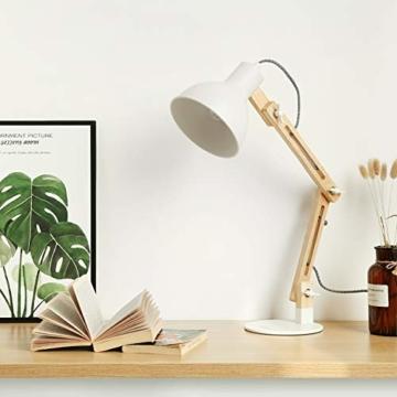 tomons LED Leselampe im klassichen Holz-Design, Schreibtischlampe, Tischleuchte Verstellbare, Lampe mit verstellbarem Arm, Augenfreundliche Leselampe, Arbeitsleuchte, Bürolampe, Nachttischlampe - 3