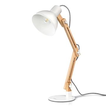 tomons LED Leselampe im klassichen Holz-Design, Schreibtischlampe, Tischleuchte Verstellbare, Lampe mit verstellbarem Arm, Augenfreundliche Leselampe, Arbeitsleuchte, Bürolampe, Nachttischlampe - 1