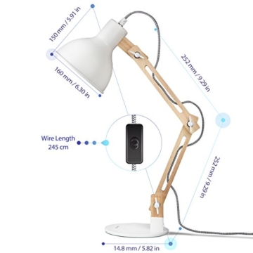 tomons LED Leselampe im klassichen Holz-Design, Schreibtischlampe, Tischleuchte Verstellbare, Lampe mit verstellbarem Arm, Augenfreundliche Leselampe, Arbeitsleuchte, Bürolampe, Nachttischlampe - 5