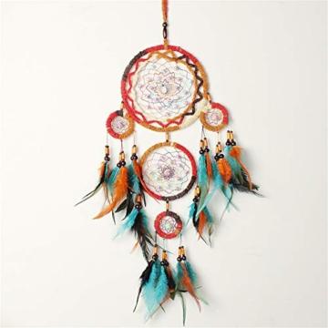 Traumfänger,Indianer Dreamcatcher Handgemachter, Traumfänger bunt mit Federn, Anhänger Dreamcatcherfür Zimmer Auto Deko (B) - 2