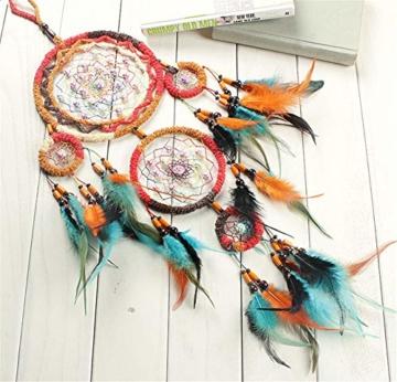 Traumfänger,Indianer Dreamcatcher Handgemachter, Traumfänger bunt mit Federn, Anhänger Dreamcatcherfür Zimmer Auto Deko (B) - 3