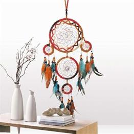 Traumfänger,Indianer Dreamcatcher Handgemachter, Traumfänger bunt mit Federn, Anhänger Dreamcatcherfür Zimmer Auto Deko (B) - 1
