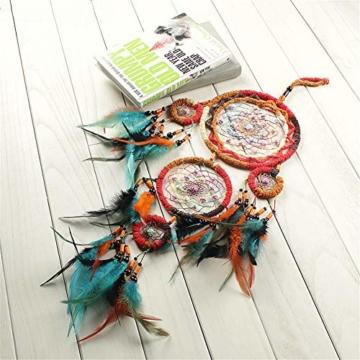 Traumfänger,Indianer Dreamcatcher Handgemachter, Traumfänger bunt mit Federn, Anhänger Dreamcatcherfür Zimmer Auto Deko (B) - 4