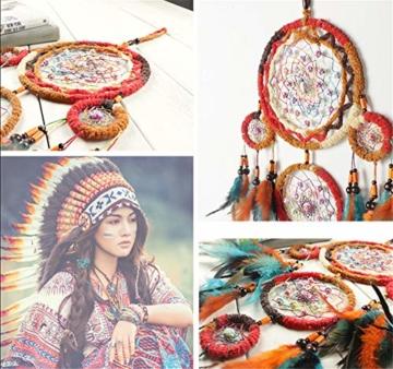 Traumfänger,Indianer Dreamcatcher Handgemachter, Traumfänger bunt mit Federn, Anhänger Dreamcatcherfür Zimmer Auto Deko (B) - 6