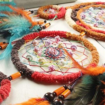 Traumfänger,Indianer Dreamcatcher Handgemachter, Traumfänger bunt mit Federn, Anhänger Dreamcatcherfür Zimmer Auto Deko (B) - 7