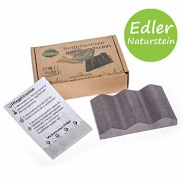 TreeBox Moderne Seifenschale aus natürlichem Sandstein - Inkl. 4 Antirutschfüßen aus Silikon - Perfekt geeignet für Bad und Küche - Umweltfreundliche Seifenablage - 1