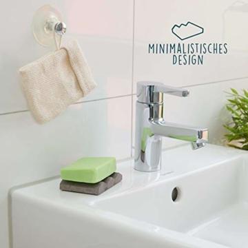 TreeBox Moderne Seifenschale aus natürlichem Sandstein - Inkl. 4 Antirutschfüßen aus Silikon - Perfekt geeignet für Bad und Küche - Umweltfreundliche Seifenablage - 7