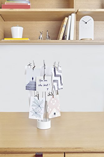 Umbra Fotofan Tisch Fotobaum mit 16 Clips zum Halten von Fotos, Postkarten und Mehr – Moderner Collagen Bilderrahmen mit 360 Grad Optik, Chrom / Weiß - 2