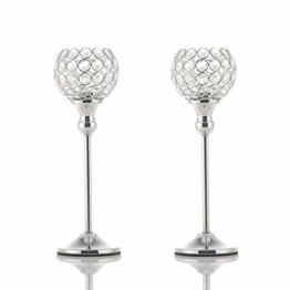 VINCIGANT Kristall Kerzenständer Silber 2er Set für Weihnachtsdeko Dekoration Halloween Deko Wohnung Modern,30cm&30cm Höhe - 1