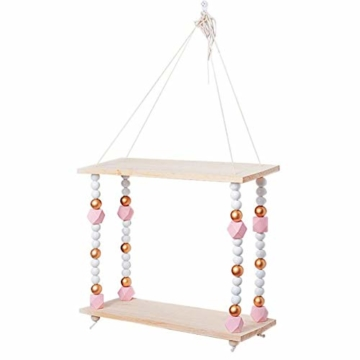 voloki Dekorative Wandbehang Regal, Swing Rope Shelf Wandregal schwimmenden Rahmen nach Hause dekorativ - 8
