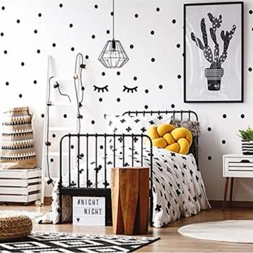 WandSticker4U®- 140x Wandtattoo Punkte + 2 Wimpern in SCHWARZ selbstklebend I Aufkleber Kreise für Wände und Möbel I Wandsticker Kinderzimmer Wall Stickers Polka-Dots (E. Farbe: Schwarz) - 3