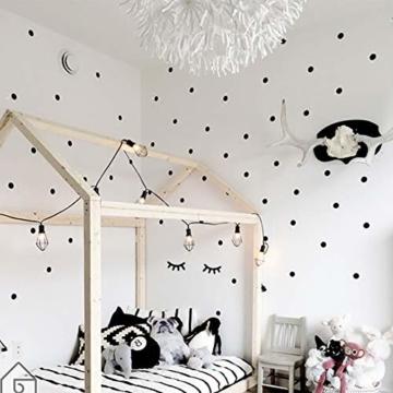 WandSticker4U®- 140x Wandtattoo Punkte + 2 Wimpern in SCHWARZ selbstklebend I Aufkleber Kreise für Wände und Möbel I Wandsticker Kinderzimmer Wall Stickers Polka-Dots (E. Farbe: Schwarz) - 4
