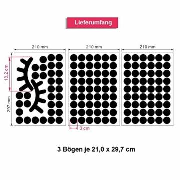 WandSticker4U®- 140x Wandtattoo Punkte + 2 Wimpern in SCHWARZ selbstklebend I Aufkleber Kreise für Wände und Möbel I Wandsticker Kinderzimmer Wall Stickers Polka-Dots (E. Farbe: Schwarz) - 7