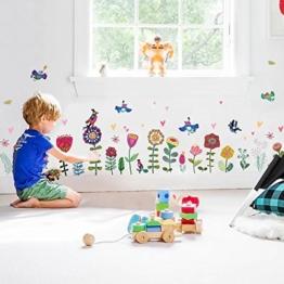 WandSticker4U- Wandtattoo Kinderzimmer bunte BLÜMCHEN I Wandbilder: 193x95 cm I selbstklebend Wandsticker für Mädchen I Fensteraufkleber Kinder Blumen Bordüre Pflanzen Wiese Vogel - 1