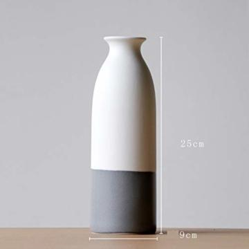 YOSPOSS Keramikvase KZ9527-W147 handgemachte Moderne Keramikvase für Blumen, hohe Vasen Set für Home Office Deko, weiße Vasen unten grau, 2 Stück - 3