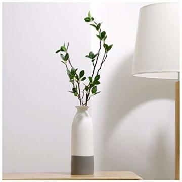 YOSPOSS Keramikvase KZ9527-W147 handgemachte Moderne Keramikvase für Blumen, hohe Vasen Set für Home Office Deko, weiße Vasen unten grau, 2 Stück - 4
