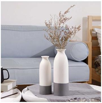 YOSPOSS Keramikvase KZ9527-W147 handgemachte Moderne Keramikvase für Blumen, hohe Vasen Set für Home Office Deko, weiße Vasen unten grau, 2 Stück - 1