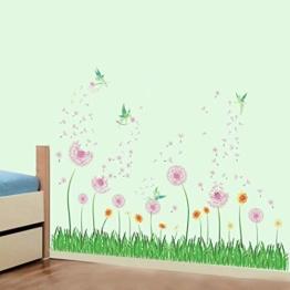 decalmile Wandtattoo Bordüre Rosa Pusteblume Fee Wandsticker Grüne Gras Blumenwiese Wandaufkleber Wohnzimmer Schlafzimmer Wanddeko - 1