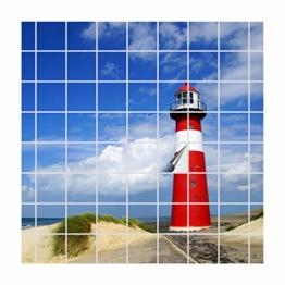 FoLIESEN Fliesenaufkleber für Bad und Küche | Fliesenposter Leuchtturm Westkapelle | Fliesengröße 10x10 cm | Fliesenbild 96 TLG. - 120x80cm (BxH) - 1
