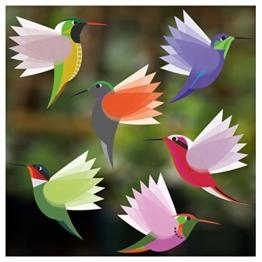 Stickers4 Vogel-Fensteraufkleber zum Schutz gegen Vogelschlag - sechs kleine schöne exotisch Kolibri-Glasaufkleber, doppelseitig und selbstklebend zum Schutz gegen Vogelkollisionen - Sechs Kleine - 1