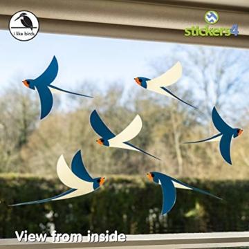 Stickers4 Vogel Fensteraufkleber zum Schutz vor Vogelschlag - 6 schöne Schwalbe Glassticker, doppelseitig und selbstklebend zum Schutz vor Vogelkollisionen - 2