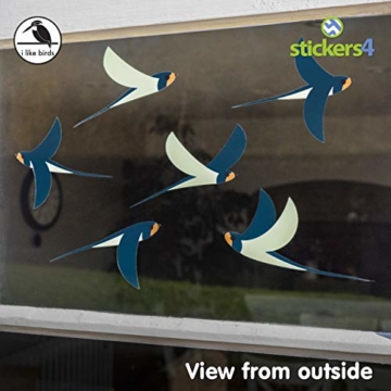 Stickers4 Vogel Fensteraufkleber zum Schutz vor Vogelschlag - 6 schöne Schwalbe Glassticker, doppelseitig und selbstklebend zum Schutz vor Vogelkollisionen - 3