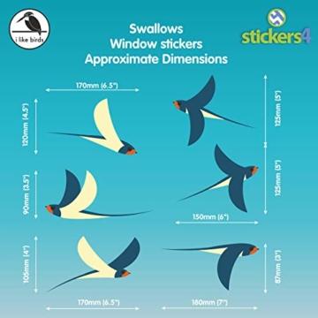 Stickers4 Vogel Fensteraufkleber zum Schutz vor Vogelschlag - 6 schöne Schwalbe Glassticker, doppelseitig und selbstklebend zum Schutz vor Vogelkollisionen - 4