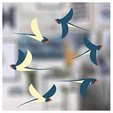 Stickers4 Vogel Fensteraufkleber zum Schutz vor Vogelschlag - 6 schöne Schwalbe Glassticker, doppelseitig und selbstklebend zum Schutz vor Vogelkollisionen - 1
