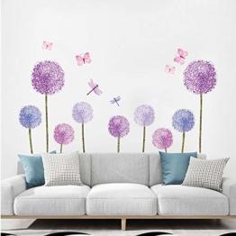 ufengke Wandtattoos Löwenzahn Lila Wandsticker Wandaufkleber Pusteblume Blumen Schmetterlinge für kinderzimmer Mädchen Wohnzimmer Flur - 1