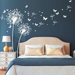 """Wandtattoo Loft """"Zwei Pusteblumen mit fliegenden Pollen und Schmetterlingen"""" / Löwenzahn / Dandelion / Schlafzimmer / Wandsticker / Wandaufkleber / 54 Farben / 3 Größen / transparent / 141 cm breit x 122 cm hoch - 1"""