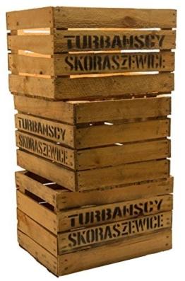 3er Set Massive Obstkiste Apfelkiste Weinkiste aus dem Alten Land 49 x 42 x 31 cm (GEBRAUCHT MIT Aufschrift TS) - 1