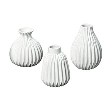 3er-Set Vasen 'Esko' Porzellan weiß - 1