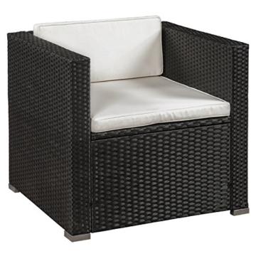 ArtLife Polyrattan Lounge Punta Cana L schwarz mit Bezügen in Creme   Gartenlounge mit Sofa, Sessel & Tisch für 4 – 5 Personen   Sitzgruppe - 2