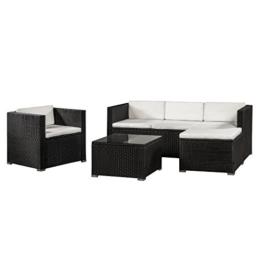 ArtLife Polyrattan Lounge Punta Cana L schwarz mit Bezügen in Creme | Gartenlounge mit Sofa, Sessel & Tisch für 4 – 5 Personen | Sitzgruppe - 1