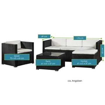 ArtLife Polyrattan Lounge Punta Cana L schwarz mit Bezügen in Creme   Gartenlounge mit Sofa, Sessel & Tisch für 4 – 5 Personen   Sitzgruppe - 4