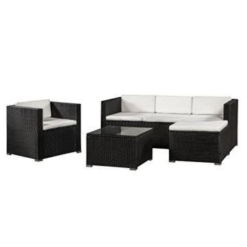 ArtLife Polyrattan Lounge Punta Cana L schwarz mit Bezügen in Creme   Gartenlounge mit Sofa, Sessel & Tisch für 4 – 5 Personen   Sitzgruppe - 1