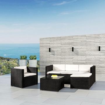 ArtLife Polyrattan Lounge Punta Cana L schwarz mit Bezügen in Creme   Gartenlounge mit Sofa, Sessel & Tisch für 4 – 5 Personen   Sitzgruppe - 5