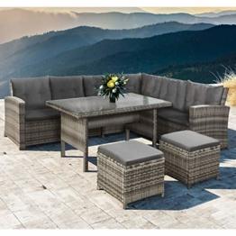 ArtLife Polyrattan Sitzgruppe Lounge Santa Catalina beige-grau – Gartenmöbel-Set mit Eck-Sofa, 2 & Tisch - bis 6 Personen - wetterfest & stabil - 1