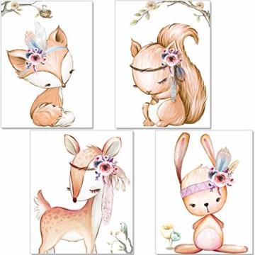 artpin® 4er Set Poster Kinderzimmer - A4 Bilder Babyzimmer - Deko Mädchen (P42) - 1