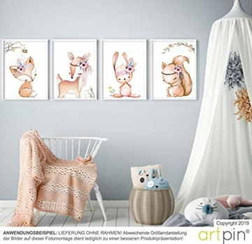 artpin® 4er Set Poster Kinderzimmer - A4 Bilder Babyzimmer - Deko Mädchen (P42) - 2